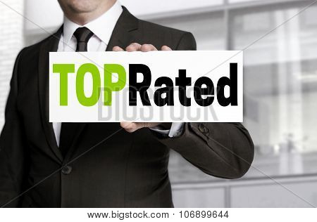 Top Rated Sign Is Held By Businessman Concept