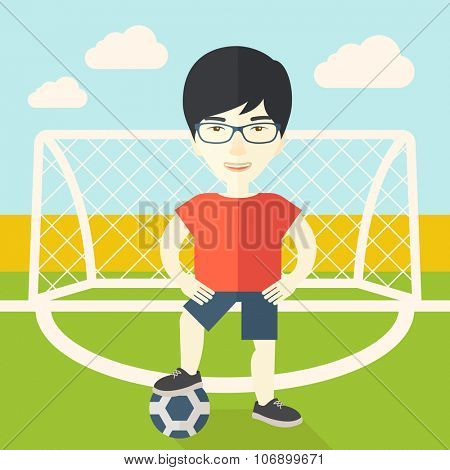 An asian football player with ball standing on field of stadium vector flat design illustration. Square layout.