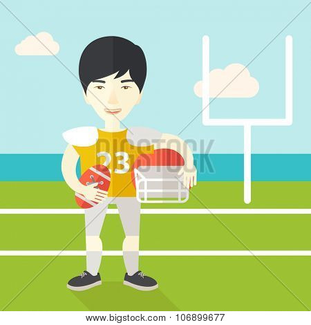 An asian rugby player with ball and helmet in hands standing on the stadium vector flat design illustration. Square layout.