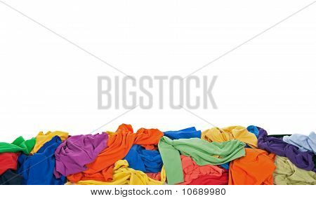 Messy Colorful Clothes Border With Space For Text