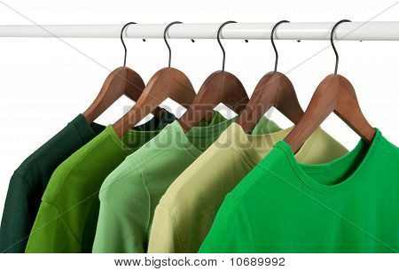 Casual Shirts On Hangers, Different Tones Of Green