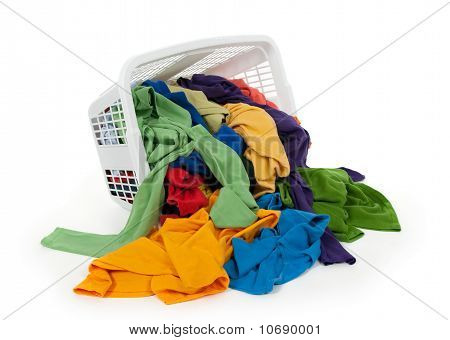 Bright Clothes Falling Out Of A Laundry Basket