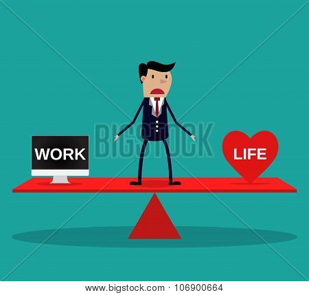 Businessman balance Work and life.