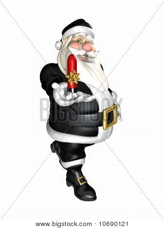Santa Wearing Black Holding an Adult Gift