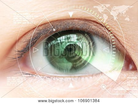 Close Up Women Eye Scanning Technology In The Futuristic, Operation, Cataract.