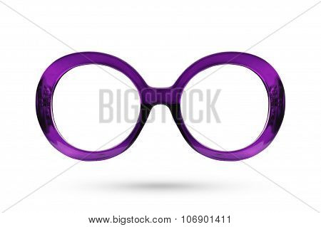 Fashion Purple Glasses Style Plastic-framed Isolated On White Background.