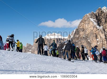 DOLOMITES ALPS, ITALY - FEBRUARY 16, 2015: Dolomites Alps - overlooking the Sella group in Val Gardena. Italy
