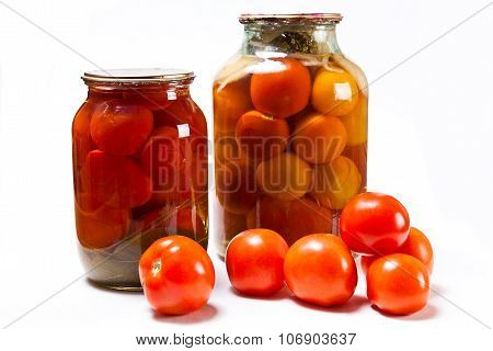Fresh And Canned Red Tomatoes On White Background.