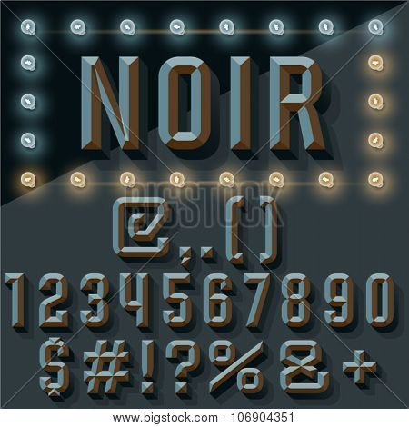 Vector 3D black set of condense beveled numbers and symbols with shadow. Noir Art deco version with lamp.