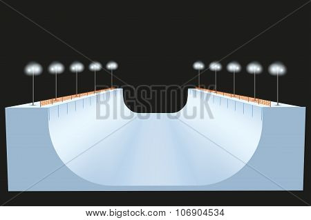 Snow half pipe at night