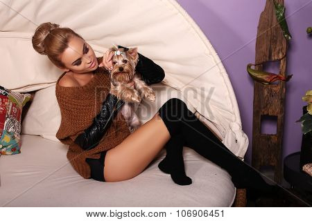Woman In Casual Clothes, Posing With Cute Yorkshire Terrier