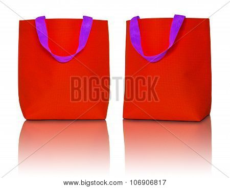 Red Shopping Bag On White Background