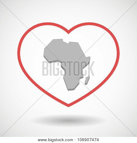 Line Hearth Icon With  A Map Of The African Continent