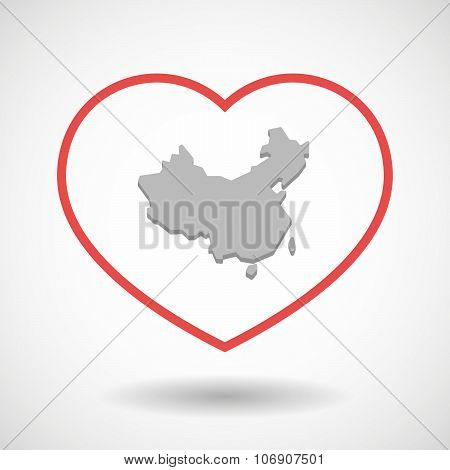 Line Hearth Icon With  A Map Of China