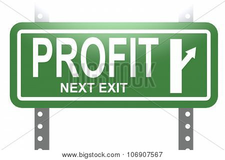 Profit Green Sign Board Isolated