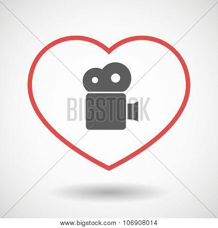 Line Hearth Icon With A Film Camera