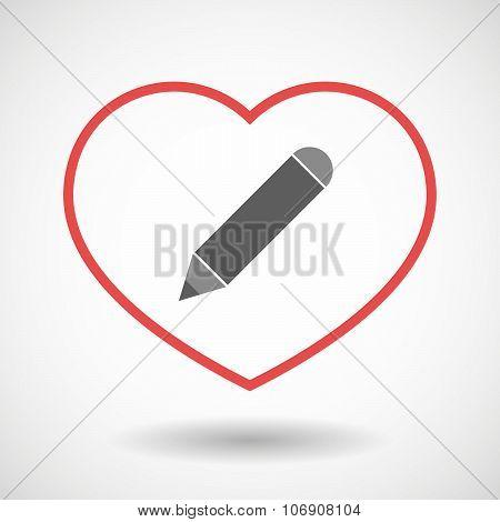 Line Hearth Icon With A Pencil