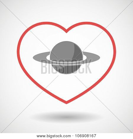 Line Hearth Icon With The Planet Saturn