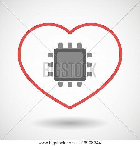 Line Hearth Icon With A Cpu