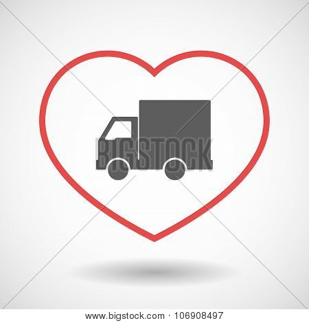 Line Hearth Icon With A  Delivery Truck