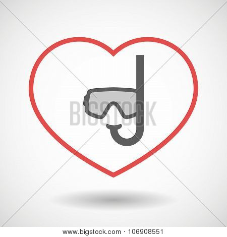 Line Hearth Icon With A Diving Goggles