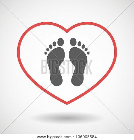Line Hearth Icon With Two Footprints