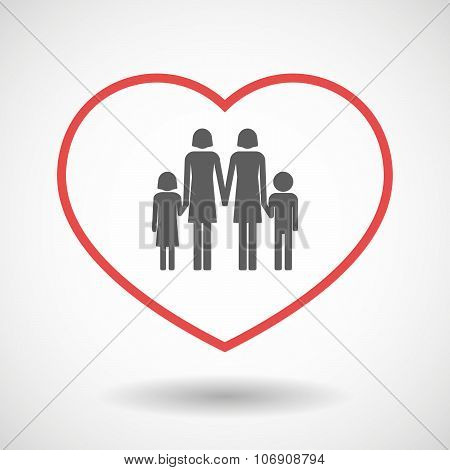 Line Hearth Icon With A Lesbian Parents Family Pictogram