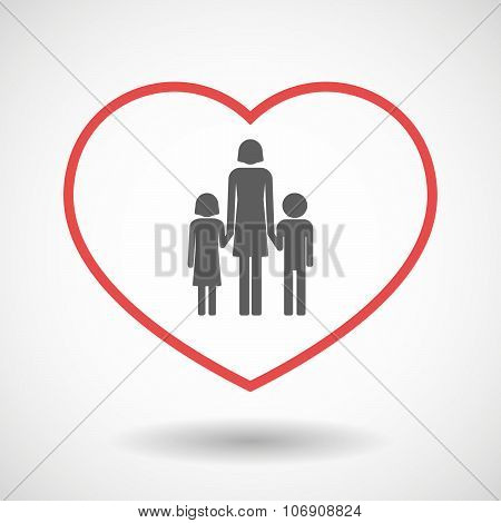 Line Hearth Icon With A Female Single Parent Family Pictogram