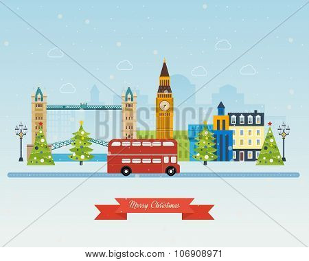 London, United Kingdom icons  travel concept. Merry Christmas greeting card
