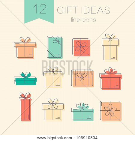 Vector line icons of gift boxes.