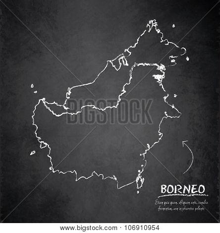 Borneo map blackboard chalkboard vector - Malaysia Indonesia Brunei country