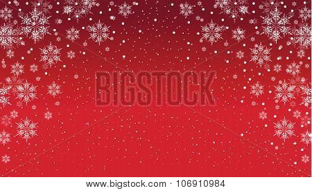 a red and white snowflake background
