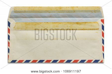 Open Old Airmail Envelope Isolated On White Background
