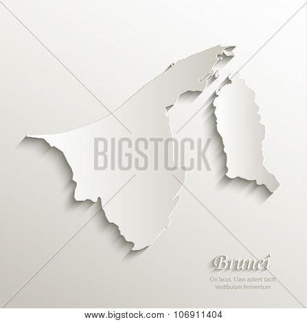 Brunei map card paper 3D natural vector