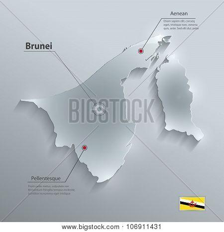 Brunei map flag glass card paper 3D vector