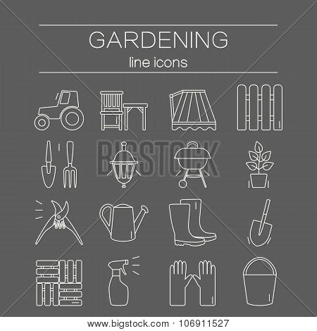 Gardening icons. Unique and modern set isolated on background.