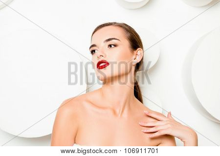 Fashionable Glamorous Girl With Red Lips