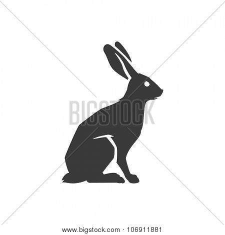 Wild Rabbit Side View Isolated On White Background Vector object for Labels, Badges, Logos  and other Design.