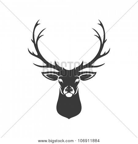 Deer Head Silhouette Isolated On White Background Vector object for Labels, Badges, Logos  and other Design.