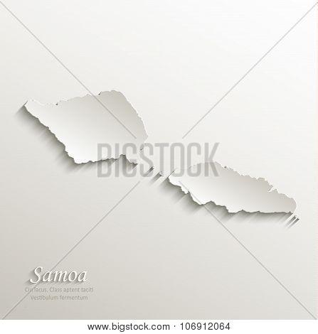 Samoa map card paper 3D natural vector
