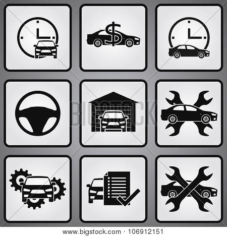 Car dealership 9 icons set