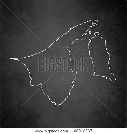 Brunei map blackboard chalkboard raster