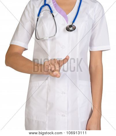 Female headless doctor pointing to something or pressing imaginary button