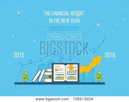 Merry Christmas greeting card design.  Concepts for financial report