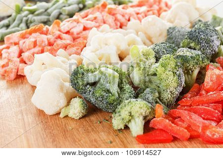 Mixed Vegetables Background On Cutting Board