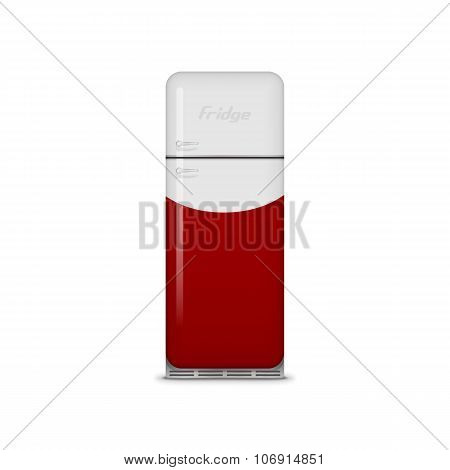 Realistic vintage red and white vector Fridge