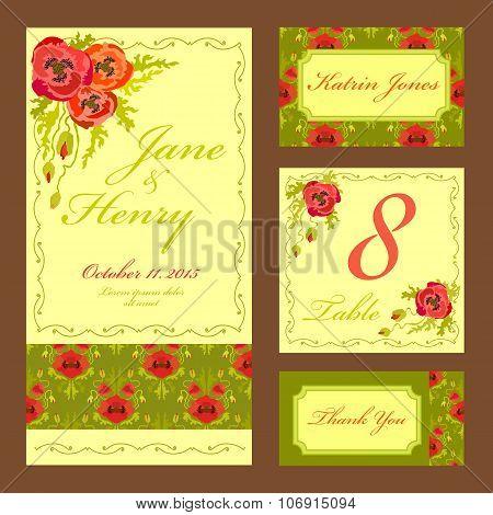 Poppy flower Wedding card set. Vintage Vector illustration.
