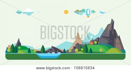 Vector flat illustrations. House in a mountain lake. Baloon flight