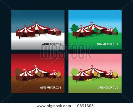 a set of four seasonal circus backgrounds