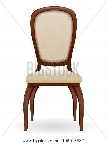 Wooden Chair Furniture With Padded Backrest And Seats Vector Illustration